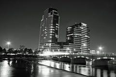 Night time in Grand Rapids Michigan. Night time in the city of Grand Rapids MI along the Grand River stock photo