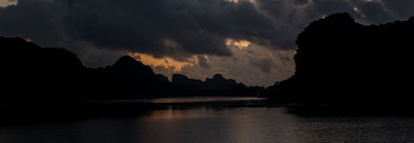 Night time in Ha Long Bay Stock Images