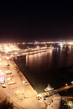 Night time harbor. Night scene of Durban harbor, South Africa, from a very tall building Stock Image