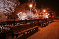 Night-time illumination of Novosibirsk. In the winter royalty free stock photo