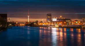 Night time illuminations of berlin city. With spree river, Germany Stock Photos