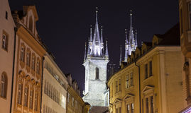 Night time illuminations of the fairy tale Church of our Lady Tyn (1365) in the Magical city of Prague, Czech republic.  Stock Photos