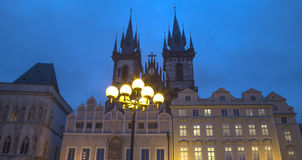 Night time illuminations of the fairy tale Church of our Lady Tyn (1365) in the Magical city of Prague, Czech republic.  Royalty Free Stock Photos
