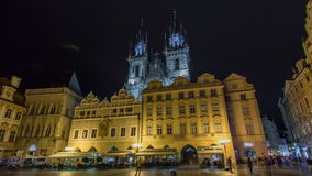 Night time illuminations of the magical Old Town Square timelapse hyperlapse in Prague. Visible are Kinsky Palace and the fairytale gothic towers of the Church stock footage