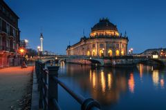 Night time illuminations of the Museum Island Royalty Free Stock Photo