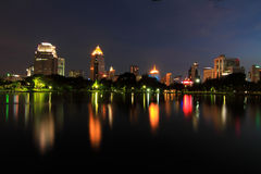 Night time at the lake in the city. Light of night time at the lake in the city royalty free stock photography