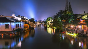 Night time-lapse of ancient town in Zhejiang province, China. stock video footage