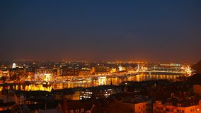 Night time-lapse. Budapest with the Danube and Chain Bridge, Hungary. Aerial view of Budapest. Hungary. Time-lapse. Night time-lapse. Budapest with the Danube stock footage