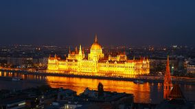 Night time-lapse. Budapest with the Danube and the Parliament building, Hungary. Aerial view of Budapest. Hungary. Time. Lapse stock footage