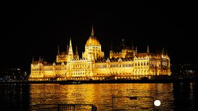Night time-lapse. Budapest with the Danube and the Parliament building, Hungary. Aerial view of Budapest. Hungary. Time. Lapse stock video footage