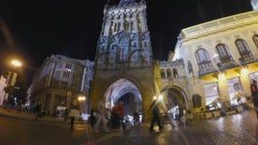 Powder tower in Prague. Night time lapse powder tower in Prague stock video