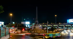 Night time-lapse shot  of traffic jam  at Victory Monument stock footage