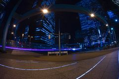 Night time lapse urban street at the business town in Tokyo royalty free stock photography
