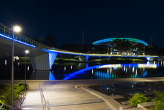 Night Time Lights on Adelaide Oval and the Foot Bridge royalty free stock photos