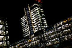 Night Time Lights Office Buildings. Abstract royalty free stock image
