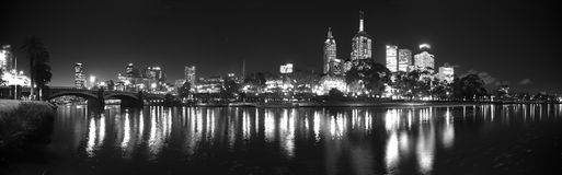Night time melbourne panorama Royalty Free Stock Photo