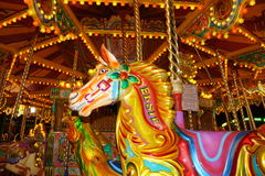 Night time merry go round horse Royalty Free Stock Image