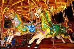 Night time merry go round Stock Photography
