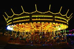 Night time merry go round Royalty Free Stock Images