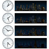 Night Time, Midnight City Skyline. Set of Illustrations Royalty Free Stock Photos