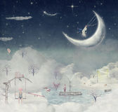 Night. Time of miracles and magic. The illustration shows the fantastic country in the sky Stock Photo