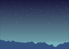 Night time mountain view with stars on the sky in blue color tone | vector illustration | backdrop graphic design Stock Photography