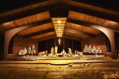 Night time Nativity Scene. In Cadillac Michigan royalty free stock image