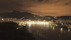 Night time panning shot of Botafogo and Downtown Rio