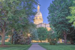 Night time picture of the Capital Building in Lansing Michigan. Michigans capital building lit up in Lansing Michigan Royalty Free Stock Photos