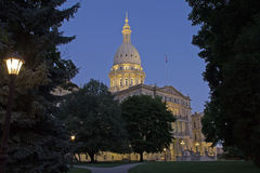 Night time picture of the Capital Building in Lansing Michigan Stock Image