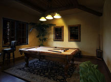 Night Time Billiards Pool Table Game Royalty Free Stock Photos