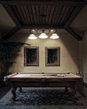 Night Time Billiards Pool Table Game Stock Photo