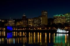 Night time Portland Oregon waterfront. Night time Portland Oregon downtown water front royalty free stock photography