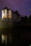 Night-Time Portrait of Castle Matzen Reflected on Water Royalty Free Stock Photo