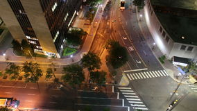 Night time road work aerial time lapse stock video footage
