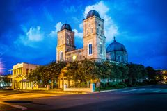 Night time shot of Minor Basilica in Natchitoches. Night time shot of the beautiful Minor Basilica in Natchitoches captured with long exposure Royalty Free Stock Images