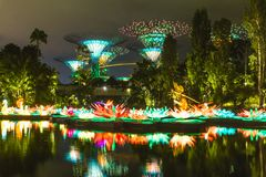 Night time shot of Singapore royalty free stock images