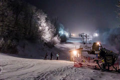 Night time skiing at sugar mountain north carolina Royalty Free Stock Photo