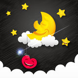 Night time sky. Nature landscape with moon, good night love vector illustration Stock Photo