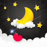 Night time sky. Nature landscape with moon, good night love vector illustration Stock Photography