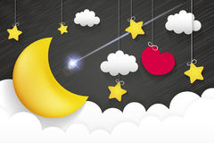 Night time sky. Nature landscape with moon, good night love vector illustration Royalty Free Stock Images