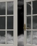 Night Time Sky Window View. 3D Digitally rendered illustration of the view of a cloudy nighttime sky with crescent moon through a white painted window Stock Photography