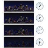Night Time Skyline. Set of Vector Illustrations Stock Images