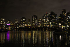 Night time skyline of Vancouver, British Columbia Royalty Free Stock Photos
