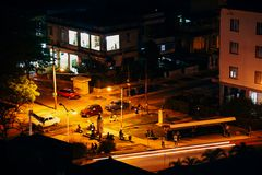 Night time in a small park in Havana, Cuba. royalty free stock photo