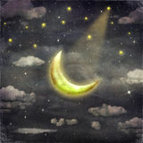 Night time with stars and moon. Background Royalty Free Stock Images