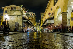Night-time street scene, Florence, Italy Royalty Free Stock Image