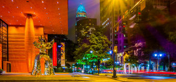 Night time on streets of charlotte north carolina Royalty Free Stock Photos