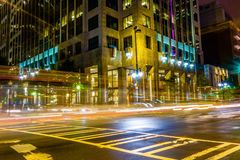 Night time on streets of charlotte north carolina Royalty Free Stock Image