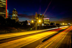 Night time on streets of charlotte north carolina Stock Image
